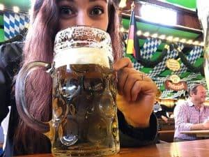 Enjoying a stein of Beer at Oktoberfest