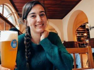 Having a Beer at Hofbrauhaus in Munich, Germany
