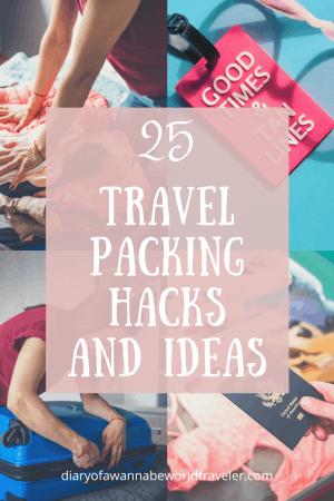 Travel packing hacks pin for pinterest