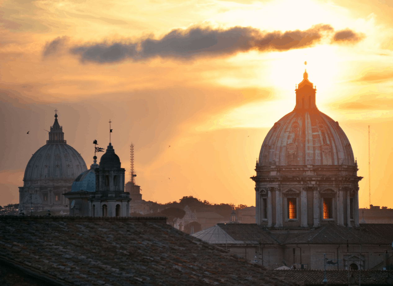 Sunset in Rome on the Rooftop